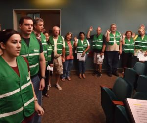 Tustin PD Deputy Chief Paul Garaven swears in CERT volunteers during a meeting at Tustin's Civic Center. Photo by Steven Georges/Behind the Badge OC