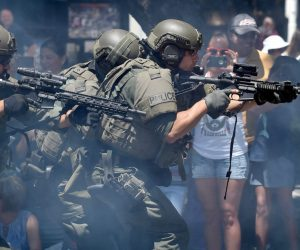SWAT Officers holding their weapons during 2017 TPD Open House demonstration