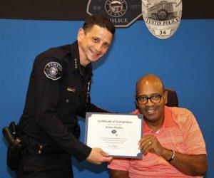 TPD Chief Stu Greengerg and Citizen's Academy Graduate - Scoba