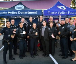 The Tustin Police Department gathers in front of the Tustin Family & Youth Center for their Coffee with a Cop public outreach.Photo by Steven Georges/Behind the Badge
